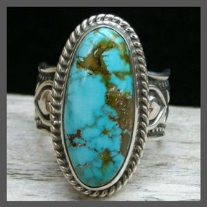 NATURAL TURQUOISE & .925 STERLING SILVER RING